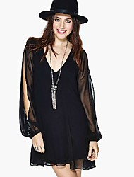 Women's V Neck Backless Long Sleeve Splice Dress