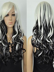 Fashion Women Halloween Hot Long Black White Mix Curly Resistant Fiber Wig