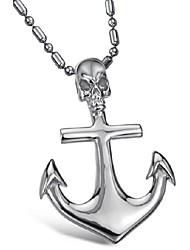 criativo da moda personalidade âncora colar homem esqueleto cruz