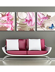 Personalized Canvas Print Abstract Morning Glory  45x45cm  55x55cm  Gallery Wrapped Art Set of 3
