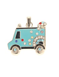 ZP 64GB Blue Little Truck Pattern Bling Diamond Metal Style USB Flash Drive