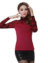 Women's High Neck Solid Color Long Sleeve Shirts