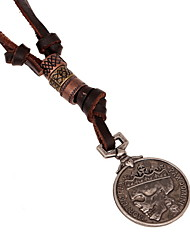 Classic  (Coin) Brown Leather Pendant Necklace(1 Pc) Christmas Gifts