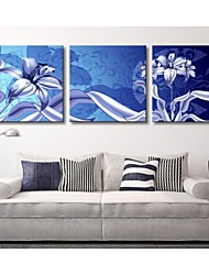 Personalized Canvas Print Stretched Canvas Art Blue Flowers 45x45cm  55x55cm  Gallery Wrapped Art Set of 3