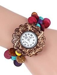 Women's Sunflower-Shaped Coconut Wooden Bracelet Watch (1Pc) Cool Watches Unique Watches