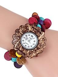 Damen Armband-Uhr Quartz Holz Band Blume Böhmische Mehrfarbig Marke