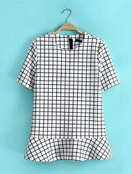 Women's Round Collar Plaid Black And White Short Sleeve Casual T-shirt