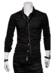 REVERIE UOMO Korean Style Slim dress Silk Cotton With Tie Long Sleeve Shirts