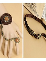 Country Girl with Orange Artificial Stone Classic Lolita Accessories Set(Bracelet/Headband)