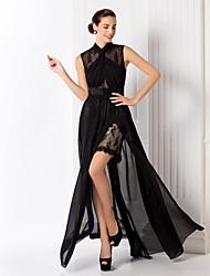 Formal Evening/Prom/Military Ball Dress - Black Plus Sizes Sheath/Column High Neck Floor-length Chiffon/Lace