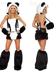 joufflu panda noir&le costume d'Halloween de blanc fourrure des femmes