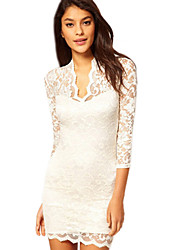 Lace Sexy V-neck Long Sleeve Bottoming Dress