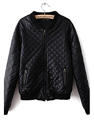 Women's Fashion Stand Collar Black Long Sleeve PU Leather Jacket