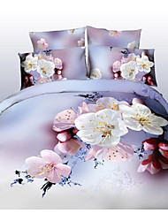 Shuian® Duvet Cover Set, 4 Piece Suit Comfort Simple Modern Ventilation Printed  3D Flower Pattern Full