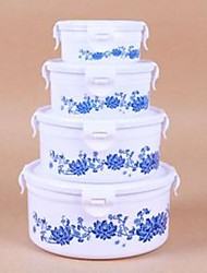 Ceramics Blue and White porcelain Food Container Set of 3 16.5x16.5x7.5cm