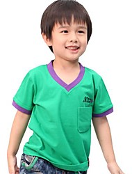 Boy's V Neck Solid Color Cotton Short Sleeve Tees