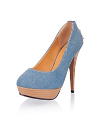 Women's Shoes Denim Spring / Summer / Fall / Winter Platform / Round Toe Dress Stiletto Heel Zipper Blue / Navy