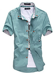 Men's White/Black/Blue Plus Size Short Sleeve Shirt