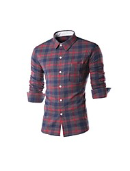 Mans Checker Patched Pocket Long Sleeve Shirts