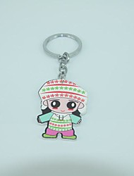 The Little Girl Shape  Metal Silver Keychain Toys