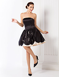 Homecoming Cocktail Party/Holiday/Prom Dress - Black Plus Sizes Ball Gown Strapless Short/Mini Satin