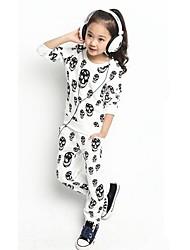 Girls Skeleton Pattern  Long Sleeve Fleece Suit