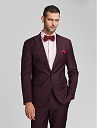 Suits Tailored Fit Slim Peak Single Breasted One-button Polyester 2 Pieces Burgundy