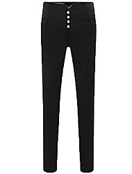 Women's Slim Skinny Pants with Buttons