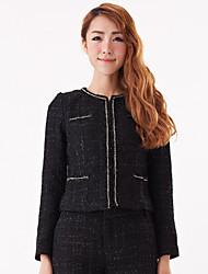 elegante cappotto manica lunga donna zyqy (nero)