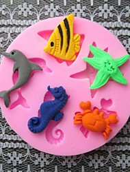 Fish Dolphin Crab Baking Fondant Cake Choclate Candy Mold,L6cm*W6cm*H0.9cm