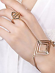 Quadrilateral Punk Metal Bracelet with Ring