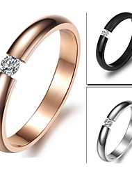 Ms Contracted Exquisite Diamond Plating Rose Gold Titanium Steel Ring