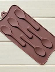 5-Loch-Löffelform Kuchen Eis Gelee Schokoladenformen, Silikon 22,5 × 10,5 × 1 cm (8,9 x 4,1 x 0,4 Zoll)
