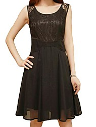Women's Lace Top Sleeveless Chiffon Skater Dress