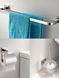 304 aço inoxidável de 3 peças de banho acessórios para bar conjunto de toalhas e porta-escova de vaso sanitário e suporte de tecido