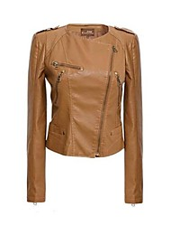 Women's Clothing Fashion Pu Leather Jacket Lady Coats