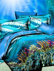 Mankani 3D High Definition Stereoscopic Seabed Print  Four-Piece