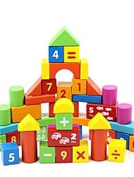 50 pcs números de madeira brinquedos educativos blocos de construção das crianças