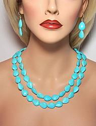 doble cadena de resina azul collar shixin® hebra vendimia (1 unidad)