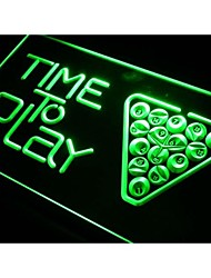 I301 temps à jouer au billard salle de billard signe de néon