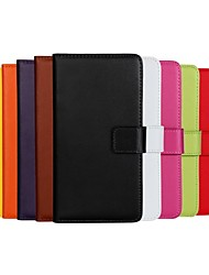 Solid Color Pattern Genuine Leather Full Body Case with Stand and Card Slot for Sony Xperia Z1 Compact / Z1 mini