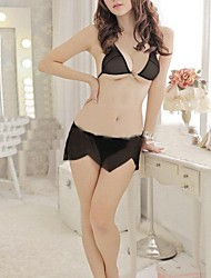 Women's Black Bra Apron Suit