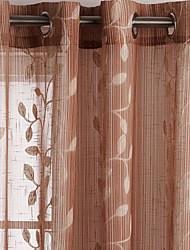 (One Panel) Elegant Growing Leaves Grommet Top 84 inch Curtain