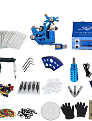 1 Gun Complete No Ink Tattoo Kit with Blue Stamping Machine and Lcd Screen Blue Power Supply