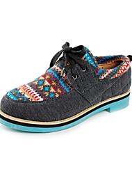 sapatas das mulheres de conforto bico redondo oxfords de salto baixo com sapatos de amarrar