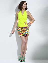 Women's Going out Sexy Spring / Summer / Fall Shirt,Solid Sleeveless Red / Black / Yellow Cotton / Spandex Thin