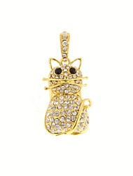 ZP 32GB Golden Little Cat Pattern Bling Diamond Metal Style USB Flash Drive