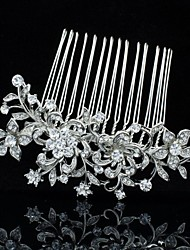 9cm Attractive Alloy and Rhinestone for Women Prom Wedding Bridal Flower Hair Comb