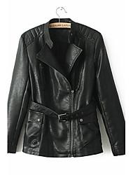 m&moda lapela cor sólida l das mulheres, incluindo cintos de zipper jaquetas pu