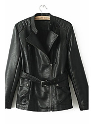 m&l Frauen-Mode Revers einfarbig wie Gürtel Reißverschluss PU-Jacken